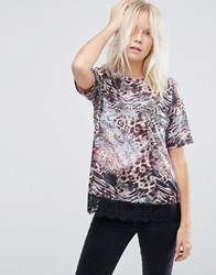 Asos T Shirt With Lace Hem In Mixed Animal Print Multi