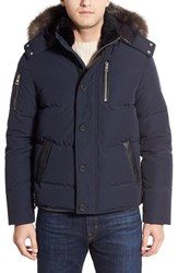 Point Zero Men's M. Benisti Water Resistant Down Jacket With Genuine Silver Fox Fur And Rabbit Fur Trim