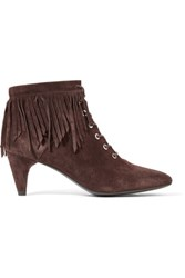 Maje Fringed Suede Ankle Boots Dark Brown