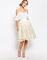 Chi Chi London Premium Metallic Lace Midi Skirt Cream