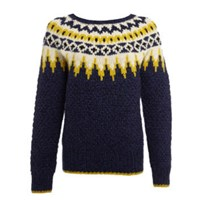 Lowie Indigo Blue Virgin Wool Fair Isle Jumper