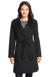 Petite Women's Trina Turk 'Violet' Wool Blend Wrap Coat Black