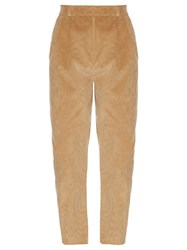 A.W.A.K.E. Preppy High Waisted Corduroy Trousers Tan