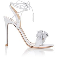 Gianvito Rossi Women's Flora Leather Ankle Tie Sandals White