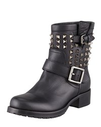 Valentino Noir Rockstud Short Motorcycle Boot Black