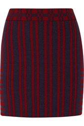 Tanya Taylor Katie Striped Knitted Mini Skirt Red