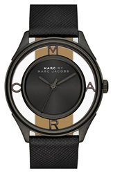 Marc By Marc Jacobs 'Tether' Skeleton Leather Strap Watch 36Mm Black