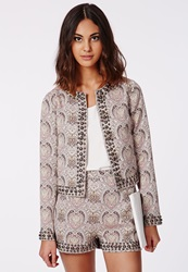 Missguided Paisley Studded Cropped Blazer