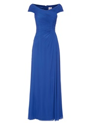 Anoushka G Mary Mesh Maxi Rushed Dress Blue
