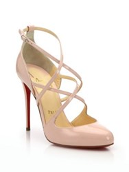 Christian Louboutin Patent Leather Strappy Pumps Pink Black