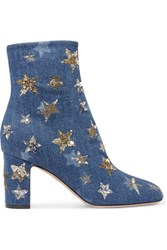 Valentino Embellished Denim Ankle Boots Mid Denim