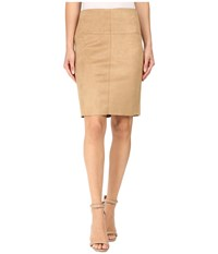 Kensie Scuba Suede Skirt Ks0u6181 Dark Tan Women's Skirt Brown