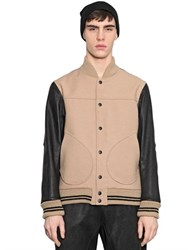 08 Sircus Leather And Double Wool Bomber Jacket