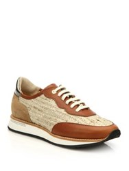 Aquatalia By Marvin K Noreen Leather And Tweed Trainer Sneakers