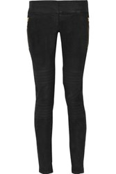 Just Cavalli Moto Style Distressed Low Rise Skinny Jeans Black