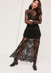 Missguided Lace Frill Detail Maxi Skirt Black