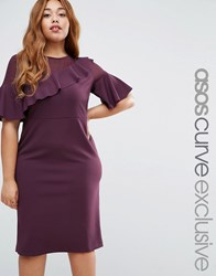Asos Curve Wiggle Dress With Woven Sheer Panel And Frill Detail Oxblood Red