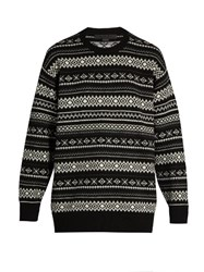 Alexander Wang Cut Out Back Wool And Cashmere Blend Sweater Black White