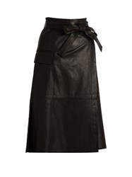 Helmut Lang Leather Wrap Skirt Black