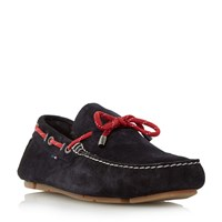 Tommy Hilfiger Monte 3B Suede Lace Up Driver Loafers Navy