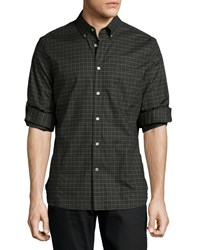 John Varvatos Check Button Down Shirt Green Pattern