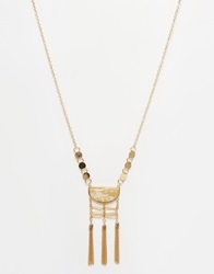 Warehouse Stone And Tassle Pendant Necklace Cream
