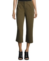 Rag And Bone Denny Cropped Wide Leg Pants Army Green