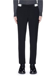 Alexander Mcqueen Metallic Stripe Waistband Crepe Pants Black