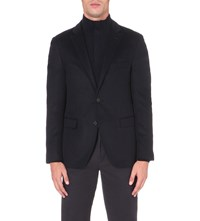 Hugo Boss Slim Fit Cashmere And Silk Blend Blazer Dark Blue