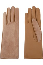 Causse Gantier Jackie Calf Hair And Leather Gloves Nude