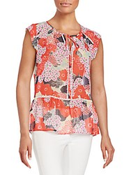 Daniel Rainn Floral Print Peplum Top Red