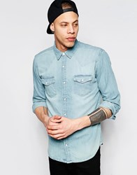 Pull And Bear Western Denim Shirt In Light Blue In Regular Fit Light Blue