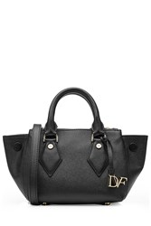 Diane Von Furstenberg Mini Voyage Double Zip Satchel Leather Tote Black