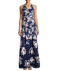 Phoebe Couture Phoebe V Neck Floral Print Ball Gown Blue Multi