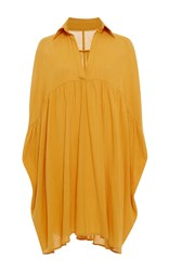 Rhode Resort Leo Mini Shirt Dress Yellow