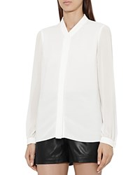 Reiss Quinn Covered Placket Blouse Off White