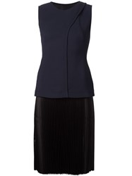 Cedric Charlier Cedric Charlier Pleated Panel Sleeveless Dress Blue