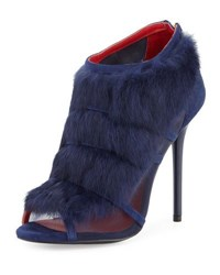 Charles Jourdan Ecliptic Rabbit Fur Open Toe Bootie Navy