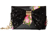 Betsey Johnson Oh Bow Wallet On A String 50Th Floral Cross Body Handbags Black