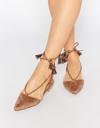 Truffle Collection Edlyn Tie Up Flat Shoes Taupe Micro Beige