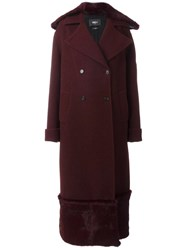 Yang Li Long Fur Detail Overcoat Red