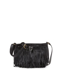 Isabella Fiore Festival Fringed Crossbody Bag Black