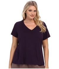 Jockey Cotton Essentials Plus Size V Neck Tee Eggplant Women's Pajama Purple