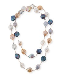 Multicolor Coin Pearl Necklace 35'L Margo Morrison