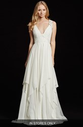 Women's Hayley Paige 'Gwen' Sleeveless Grecian Draped Bodice Chiffon Gown In Stores Only