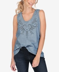 Lucky Brand Denim Eyelet Tank Top Roosevelt