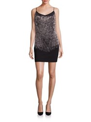 Laundry By Shelli Segal Beaded Fringe Dress Black