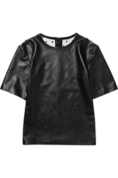 Ungaro Leather And Polka Dot Tulle Top