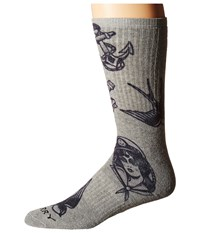 Sperry Sailor Signals Printed Full Cushion Crew Gray Men's Crew Cut Socks Shoes
