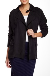 Michael Stars Tencel Long Sleeve Trench Black